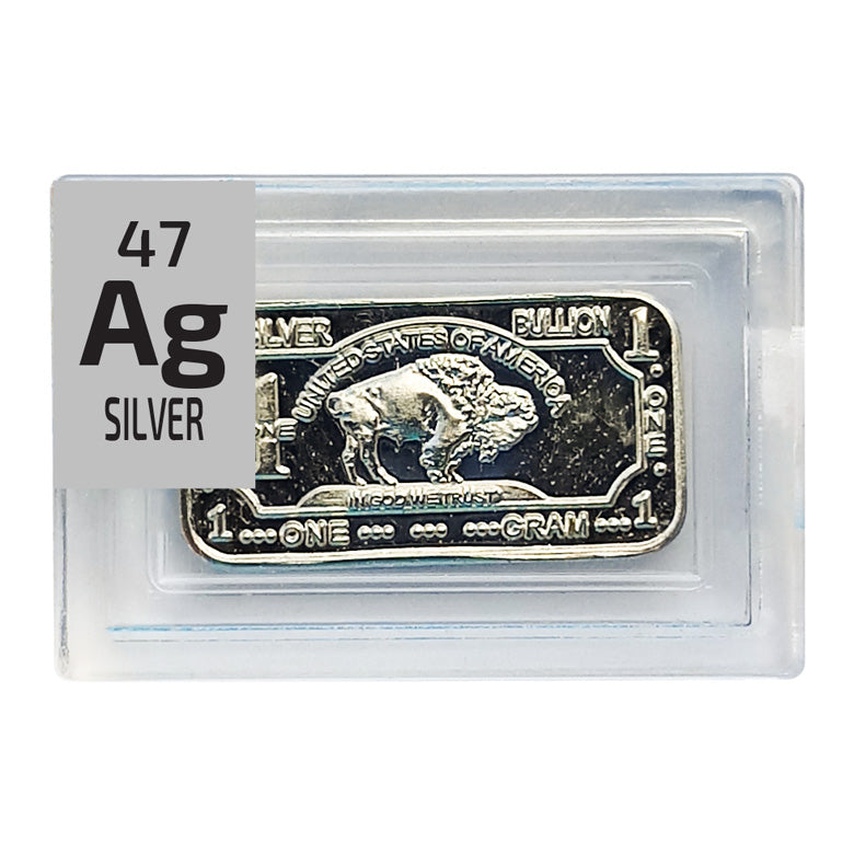 Silver Bullion Ingot Periodic Element Tile - Small - The Periodic Element Guys