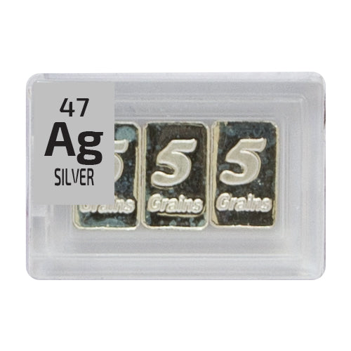 Silver 3x5 Grain ingot Periodic Element Tile - Small - The Periodic Element Guys