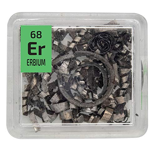 Erbium Metal Rare Earth 99.9% Pure Turnings Element Sample in a PEGUYS Periodic Element Tile - The Periodic Element Guys