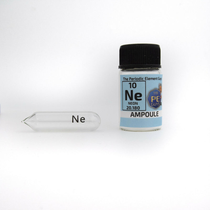 Pure Neon gas Ampoule element 10 sample Ne Low Pressure in labeled glass Bottle - The Periodic Element Guys