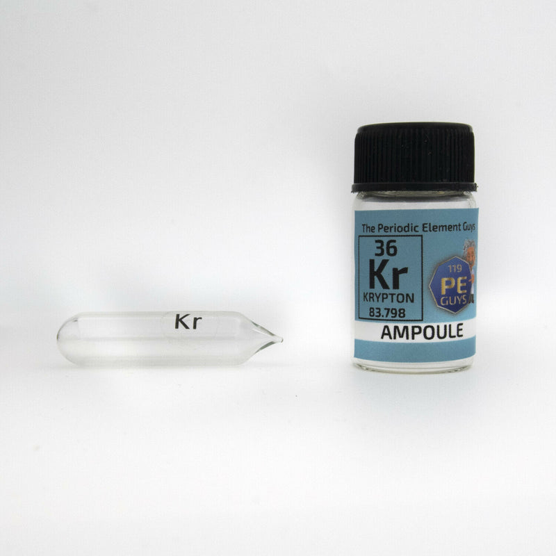 Pure Krypton Gas Ampoule Element Sample Low Pressure in labeled glass Bottle - The Periodic Element Guys