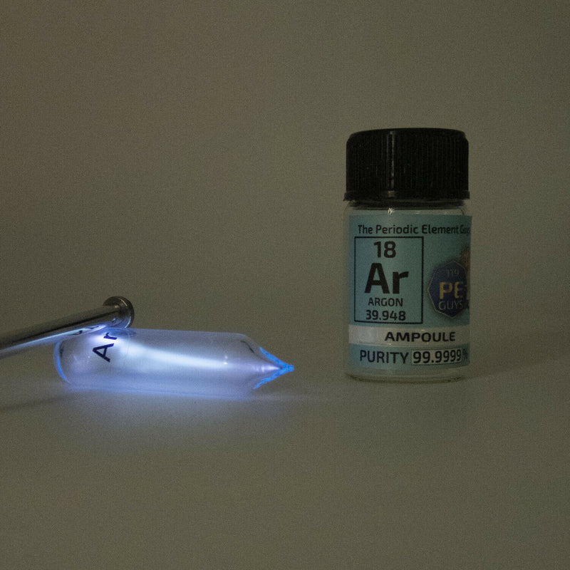Pure Argon Gas Ampoule Element Low Pressure in Labeled Glass Bottle - The Periodic Element Guys