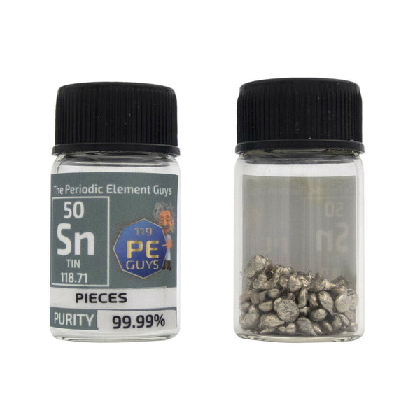 Tin Metal Element Sample - 10g Pieces - Purity: 99.99% - The Periodic Element Guys