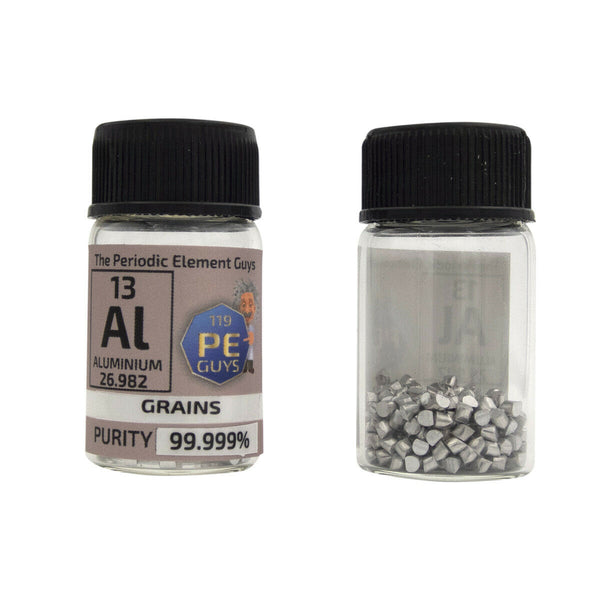 Aluminium Metal Element Sample - 10g Grains - Purity: 99.999% - The Periodic Element Guys