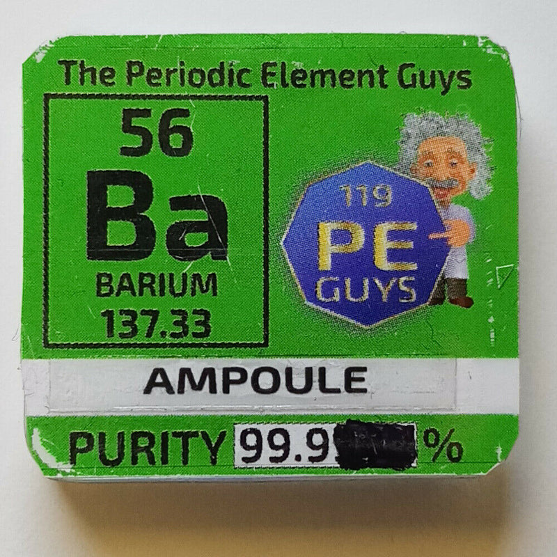 Barium Metal Element Sample Handmade Glass Ampoule 99.9% in Periodic Element Tile - The Periodic Element Guys