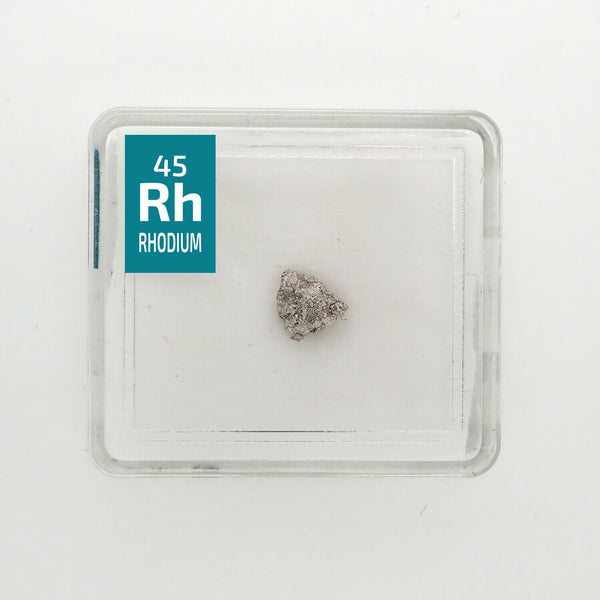 Rhodium Metal Very Rare Crystal 0.15 Grams 99.99% pure in Periodic Element tile - The Periodic Element Guys