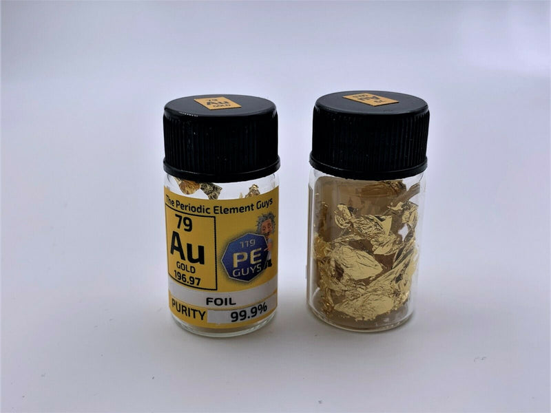 Gold Foil 10 sq cm 99,9% sample in Periodic Element Bottle - The Periodic Element Guys