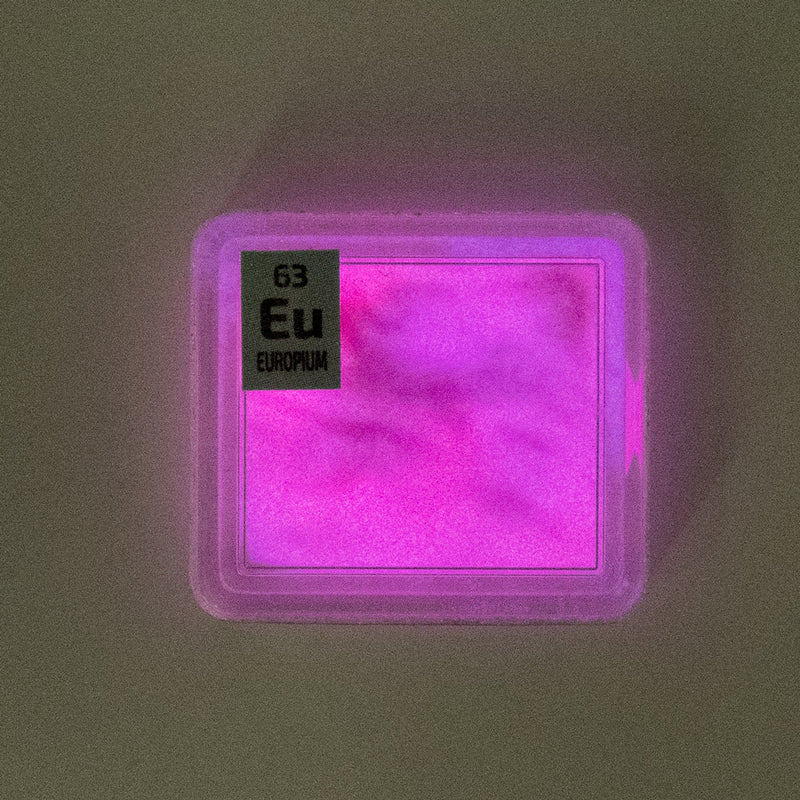 Europium Glow Powder Pink PEGUYS Periodic Element Tile - The Periodic Element Guys