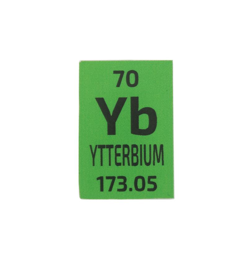 Ytterbium Distilled Dentritic Metal Pieces Mini Periodic Element Tile 99.9% Pure - The Periodic Element Guys