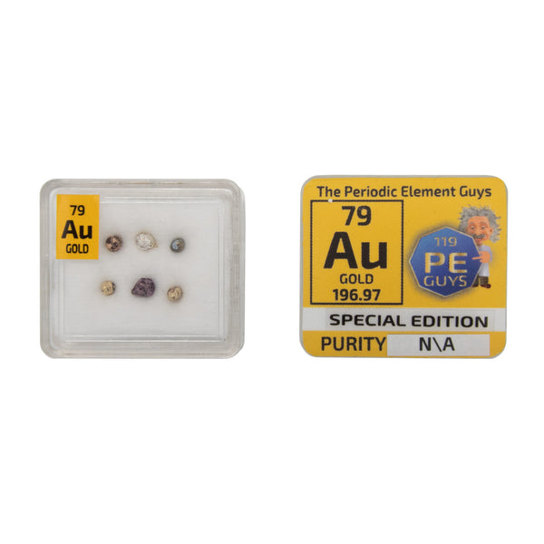 Gold Metal Pellets Bead Rose Yellow Purple Blue White Green Gold In Element Tile - The Periodic Element Guys