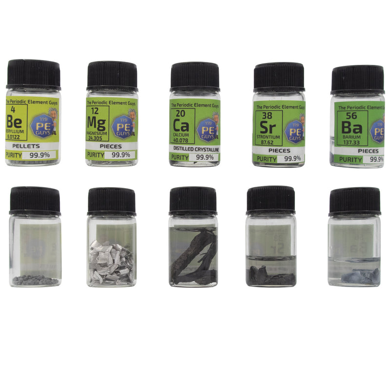 Alkaline Earth Set 5 Elements Beryllium Magnesium Calcium Strontium Barium - The Periodic Element Guys