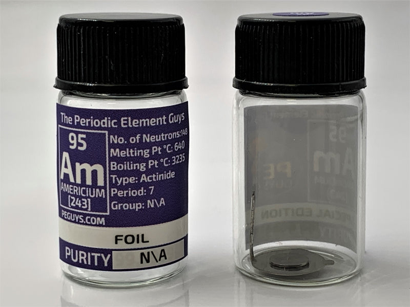 Americium Foil Sample in a Element Bottle - The Periodic Element Guys