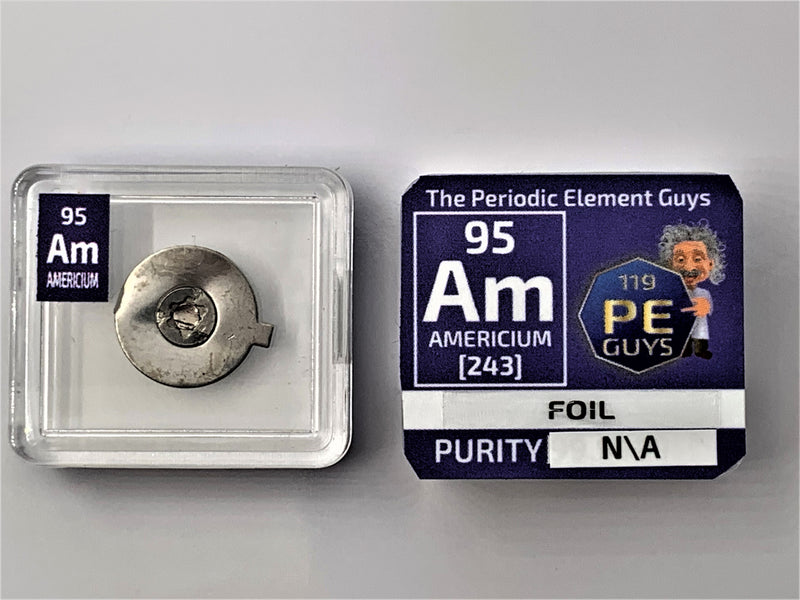 Americium Foil Sample in Periodic Element tile - The Periodic Element Guys