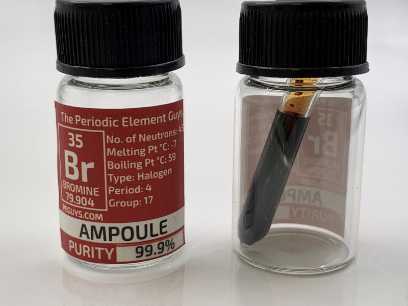 Bromine Ampoule 99.9% in labeled element bottle - The Periodic Element Guys