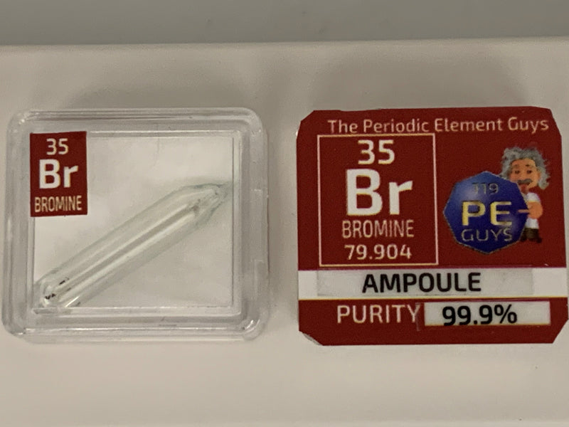 Bromine Low Pressure Vapor Gas ampoule. - The Periodic Element Guys