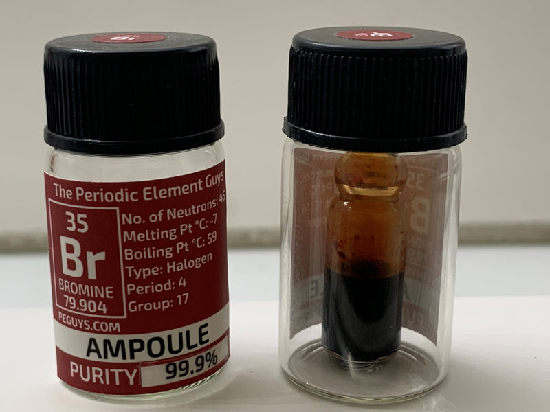 Bromine in glass ampoule in a Periodic Element Bottle - The Periodic Element Guys