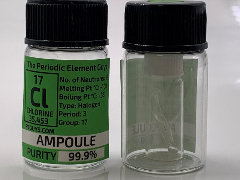 Tiny Chlorine Gas Ampoule in labeled glass bottle - The Periodic Element Guys