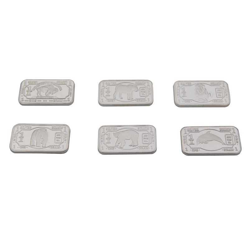 6 x 1 gram .999 solid Silver Endangered Animal Set with Capsules. MUST HAVE SET - The Periodic Element Guys