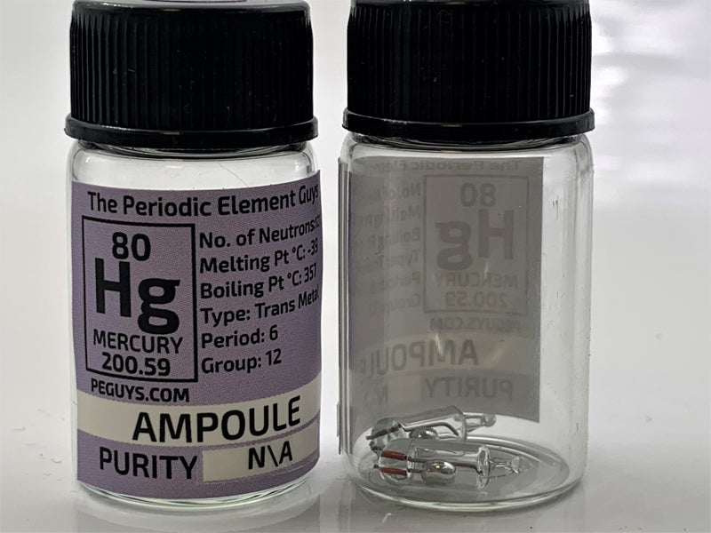 2 tiny Mercury ampoules in a labeled glass bottle - The Periodic Element Guys