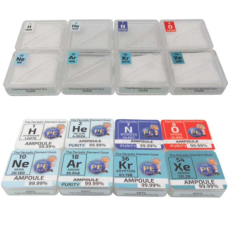 Low Pressure Gas Ampoule Set in Periodic Element Tiles - H , HE, N, O, NE, Ar, Kr, XE - The Periodic Element Guys