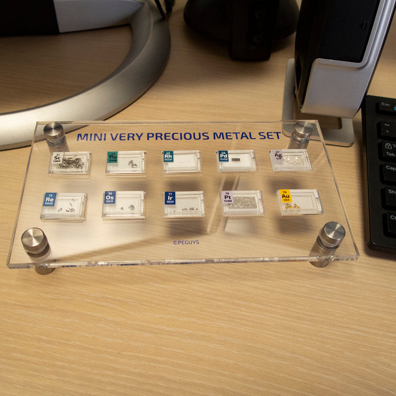 PEGUYS Mini Very Precious Metal Set With Acrylic Table Display.Includes 10 x Periodic element Tiles. - The Periodic Element Guys