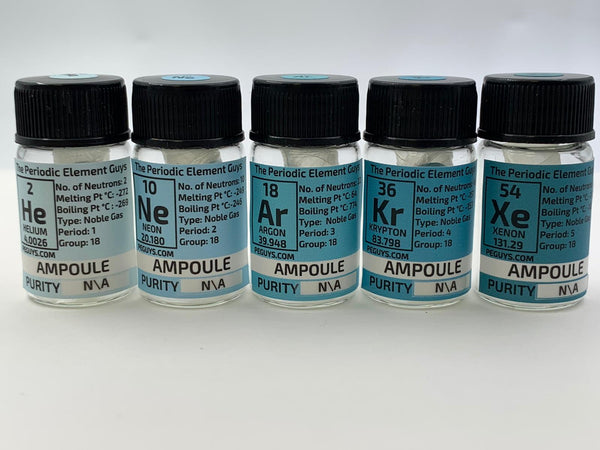 Noble Gases Set Ampoules in a Labelled Bottle. Helium, Neon, Argon, Krypton, Xenon Gas - The Periodic Element Guys