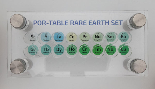 POR-TABLE Rare Earth Metal Element Set 1g x 16 Bottles With Acrylic Display - The Periodic Element Guys
