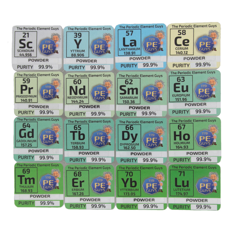 The Rare Earth Oxide Element Set Scandium Lutetium ++ in Periodic Element Tiles - The Periodic Element Guys