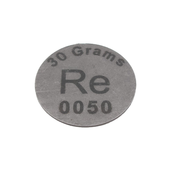 Rhenium Metal 37 Grams + Disk Ingot 99.99% Element Sample Pure - Periodic Table - The Periodic Element Guys