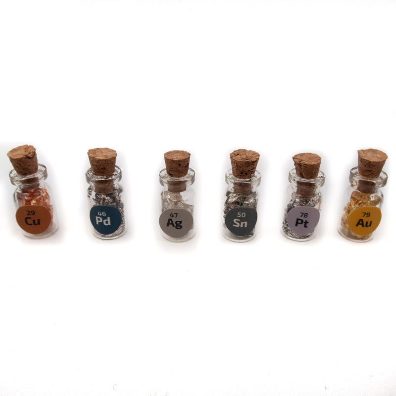 6 Miniature Cork bottles filled with 24K Gold,.999 Silver Copper Platinum Palladium Tin - The Periodic Element Guys