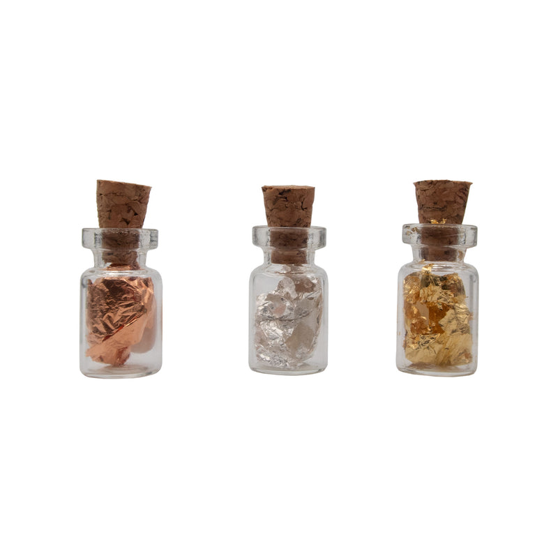 3 Miniature Cork bottles filled with 24K Gold Au .999 Silver Ag & .999 Pure Copper Cu - The Periodic Element Guys
