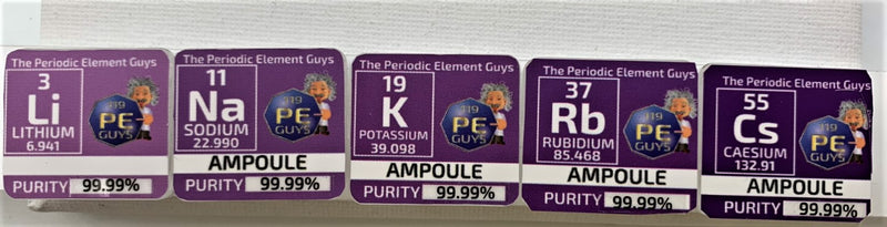 NEW Alkali Metals Glass Ampoule Metal set in Periodic Element Tiles - The Periodic Element Guys