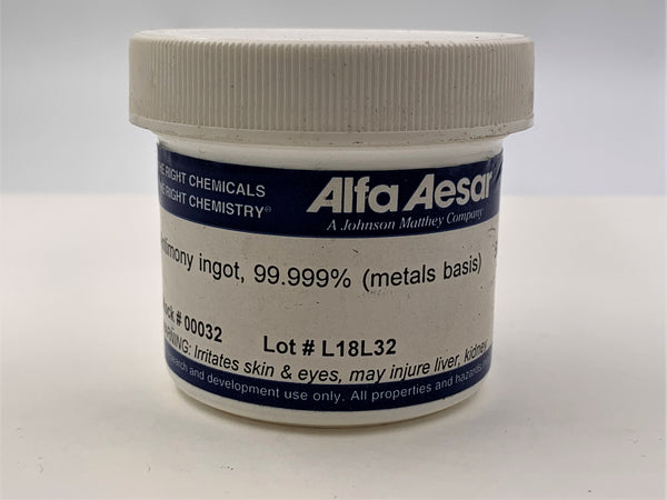 Alfa Aesar Antimony Ingot 99.999% - The Periodic Element Guys