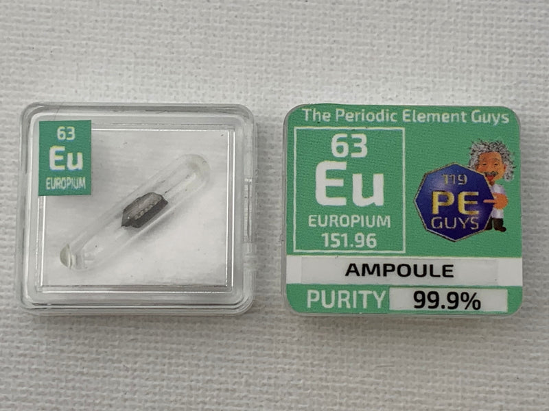 Europium Metal in Glass ampoule under argon, Clean and Shiny  99.9% in a Periodic Element Tile - The Periodic Element Guys