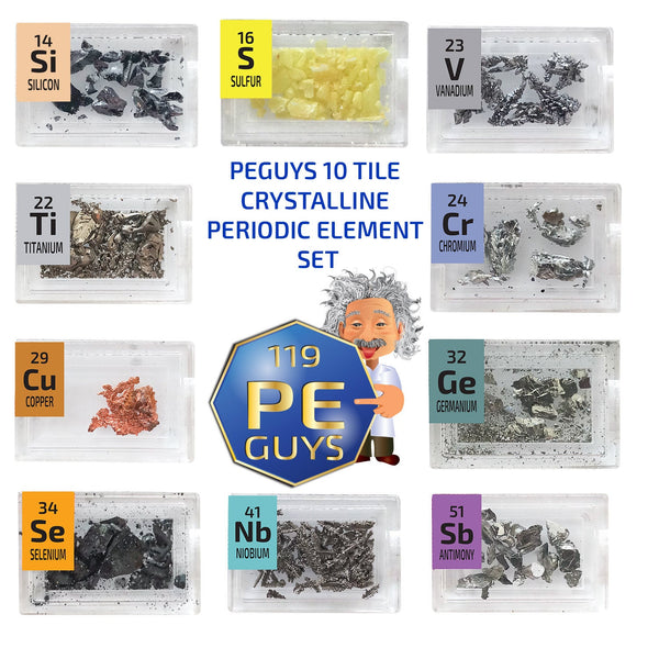 PEGUYS 10 Piece Crystalline High Purity Periodic Element Tile Set - The Periodic Element Guys