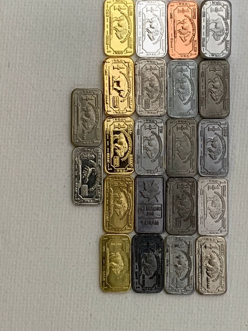 The New Full Monty 22 x 1 gram Bullion\Buffalo Metal Ingot Set. Includes Tantalum Indium Niobium++ - The Periodic Element Guys