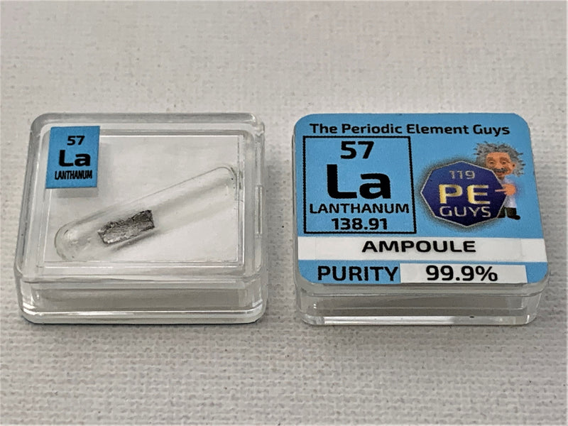 Lanthanum Metal in Glass ampoule under argon, Clean and Shiny  99.9% in a Periodic Element Tile - The Periodic Element Guys