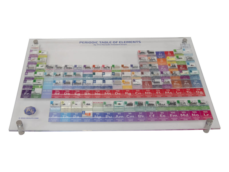Up to 82 Pure Periodic Element Tiles with Acrylic Stand inc Rhodium Palladium - The Periodic Element Guys