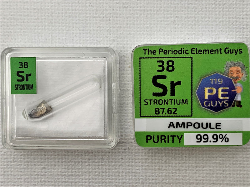 Strontium Metal in Glass ampoule under argon, Clean and Shiny 99.9% in a Periodic Element Tile - The Periodic Element Guys
