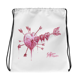 Bleeding Heart Drawstring Bag
