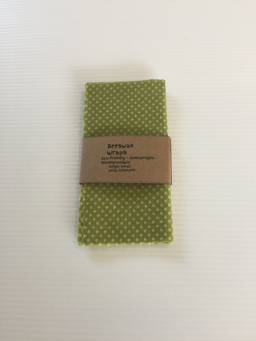 Beeswax Wraps Small Size. (Green with White Dots)