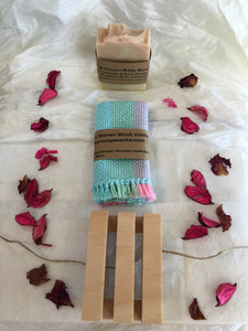 A Handmade 100% Cotton Woven Washcloth/Facecloth, a chemical free soap holder,  AND a Handmade Natural Organic Soap of your choice!!