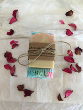 Load image into Gallery viewer, A Handmade 100% Cotton Woven Washcloth/Facecloth, a chemical free soap holder,  AND a Handmade Natural Organic Soap of your choice!!