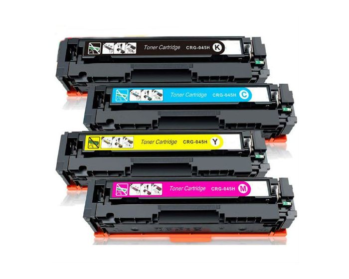 Value Set of 4 Canon 045H Toners: Black / Cyan / Magenta / Yellow (Compatible Toner Cartridges)