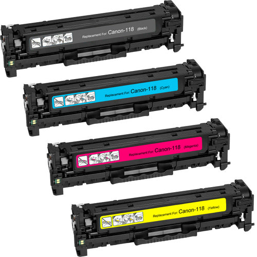 Value Set of 4 Canon 118 Toners: Black / Cyan / Magenta / Yellow (Compatible Toner Cartridges)