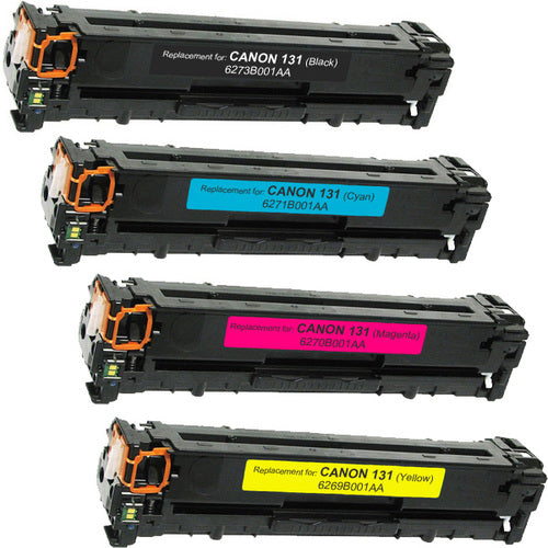 Value Set of 4 Canon 131 Toners: Black / Cyan / Magenta / Yellow (Compatible Toner Cartridges)