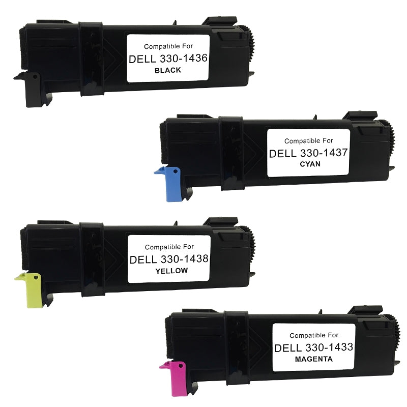 Value Set of 4 Dell 330-1436 Toners: Black / Cyan / Magenta / Yellow (Compatible Toner Cartridges)