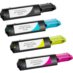 Value Set of 4 Dell 341-3568 Toners: Black / Cyan / Magenta / Yellow (Compatible Toner Cartridges)