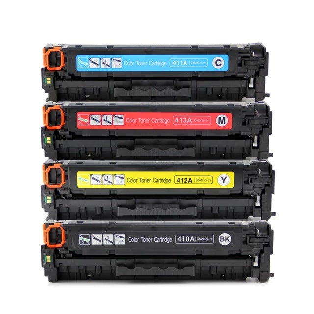 Value Set of 4 Hewlett Packard CE410X Toners: Black / Cyan / Magenta / Yellow (Compatible Toner Cartridges)