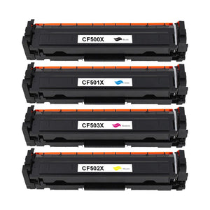 Value Set of 4 Hewlett Packard CF500X Toners: Black / Cyan / Magenta / Yellow (Compatible Toner Cartridges)